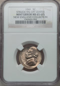 1941 5C Jefferson Nickel -- Struck 15% Off-Center -- MS65 Six Full Steps NGC. Ex: New England Collection. From The Geyer...