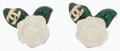 Luxury Accessories:Accessories, Chanel White & Green Enamel Camelia Flower Earrings. ...