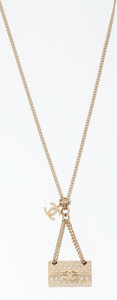 Luxury Accessories:Accessories, Chanel Flap Bag Motif Pendant on Gold Chain Necklace. ...