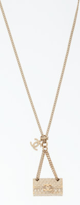 Chanel Flap Bag Motif Pendant on Gold Chain Necklace
