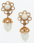 Luxury Accessories:Accessories, Chanel Gold, Rhinestone & Faux Pearl Drop Clip-On Earrings. ...