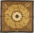 "Luxury Accessories:Accessories, Hermes Green & Gold ""Profile,"" by M. Guillemot Silk Scarf. ..."
