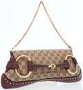 Luxury Accessories:Bags, Gucci Burgundy Leather & Brown Monogram Canvas Brushed GoldHorsebit Shoulder Bag . ...