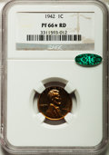 Proof Lincoln Cents: , 1942 1C PR66 ★ Red NGC. CAC. NGC Census: (71/1). PCGS Population(98/2). Mintage: 32,600. Num...