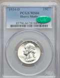 Washington Quarters, 1934-D 25C Heavy Motto MS66 PCGS. CAC....