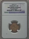 Errors, 1945-S 1C Lincoln Cent -- Struck on a 10C Planchet (2.5 grams), Obverse Scratched -- NGC Details. XF.. From The Geyer Fam...