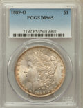 Morgan Dollars: , 1889-O $1 MS65 PCGS. PCGS Population (151/10). NGC Census: (51/7).Mintage: 11,875,000. Numismedia Wsl. Price for problem f...