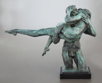 CHARLES UMLAUF (American, 1911-1994) The Kiss Bronze with green patina 16 inches (40.6 cm) Sig