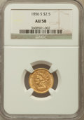 Liberty Quarter Eagles: , 1856-S $2 1/2 AU58 NGC. NGC Census: (42/25). PCGS Population(15/23). Mintage: 72,100. Numismedia Wsl. Price for problem fr...