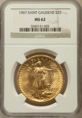 Saint-Gaudens Double Eagles: , 1907 $20 Arabic Numerals MS62 NGC. NGC Census: (3154/5571). PCGSPopulation (2360/10554). Mintage: 361,667. Numismedia Wsl....