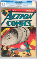 Golden Age (1938-1955):Superhero, Action Comics #17 (DC, 1939) CGC VG- 3.5 Cream to off-white pages....