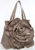 Luxury Accessories:Bags, Valentino Gray Leather Rose Petal Tote Bag with Silver Hardware....