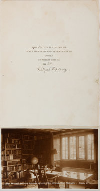 Rudyard Kipling, British Novelist and Poet. Signed Leaf Taken from a Book. Foxing and a few small worm holes. Include