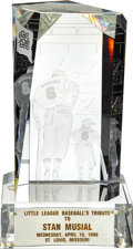 Baseball Collectibles:Others, 1996 Little League Baseball's Tribute to Stan Musial Crystal Trophy....