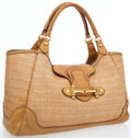 Luxury Accessories:Bags, Gucci Light Brown Woven Straw Pelham Large Tote with Gold Hardware....