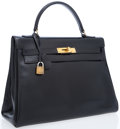 Luxury Accessories:Bags, Hermes 32cm Black Calf Box Leather Retourne Kelly Bag with GoldHardware. ...