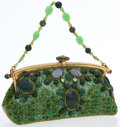 Luxury Accessories:Bags, Larisa Barrera Green Jeweled, Beaded, and Leather Evening Bag withGold Hardware. ...