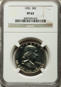 Proof Franklin Half Dollars: , 1952 50C PR63 NGC. NGC Census: (109/2239). PCGS Population(179/2809). Mintage: 81,980. Numismedia Wsl. Price for problem f...