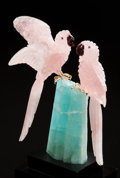 Lapidary Art:Carvings, ROSE QUARTZ MACAW COUPLE on AQUAMARINE CRYSTAL BASE. Artist:Peter Müller. Stone Source: Brazil . ...