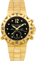Timepieces:Wristwatch, Bulgari 18k Gold Ref. SD 38 G Three Time Zone GMT Scuba AutomaticChronometer. ...
