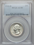 Washington Quarters: , 1932-D 25C AU50 PCGS. PCGS Population (211/2970). NGC Census:(110/1763). Mintage: 436,800. Numismedia Wsl. Price for probl...