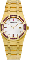 Timepieces:Wristwatch, Audemars Piguet Very Fine Ruby, Diamond & Pearl Gold Royal Oak....