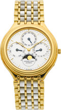 Timepieces:Wristwatch, Audemars Piguet Perpetual Calendar Automatic With Gold &Mother-of-Pearl Dial & Band. ...