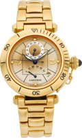 Timepieces:Wristwatch, Cartier Ref. 2395 Gold Two Time Zone Pasha With Power Indication. ...