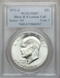 Eisenhower Dollars: , 1971-S $1 Silver MS67 PCGS. Ex: R N Lockey Collection. PCGS Population (392/2). NGC Census: (81/1). Mintage: 2,600,000. Num...