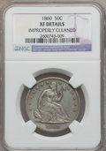 Seated Half Dollars: , 1860 50C -- Improperly Cleaned -- NGC Details. XF. NGC Census: (3/63). PCGS Population (5/107). Mintage: 302,700. Numismedi...