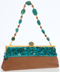 Luxury Accessories:Bags, Larisa Barrera Brown Leather and Turquoise Beaded Evening Bag withGold Hardware. ...