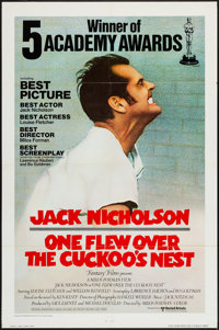 "One Flew Over the Cuckoo's Nest (United Artists, 1976). International One Sheet (27"" X 41""). Academy Awards St..."