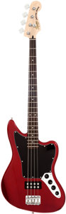 Musical Instruments:Bass Guitars, 2011 Fender Squire Jaguar Candy Apple Red Bass Guitar, Serial # ICS11091587....