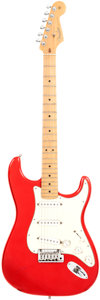 Musical Instruments:Electric Guitars, 2001 Fender Stratocaster Red Solid Body Electric Guitar, Serial #Z1047070. ...