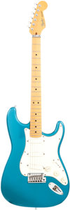 Musical Instruments:Electric Guitars, 1988 Fender Stratocaster Plus Deluxe Lake Placid Blue Solid BodyElectric Guitar, Serial # E455411....