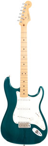 Musical Instruments:Electric Guitars, 2002 Fender Stratocaster Turquoise Solid Body Electric Guitar,Serial # Z2052099....