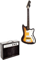 Musical Instruments:Electric Guitars, 1960s Harmony Bobkat Sunburst Solid Body Electric Guitar andAmplifier....