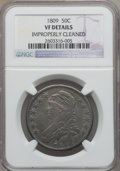 Bust Half Dollars: , 1809 50C Normal Edge -- Improperly Cleaned -- NGC Details. VF. NGCCensus: (15/738). PCGS Population (23/584). Mintage: 1,4...