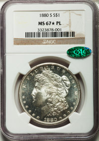 1880-S $1 MS67★ Prooflike NGC. CAC. NGC Census: (142/10 and 13/1*). PCGS Population: (131/20 and 13/1*). Mintage 8,900,0...