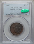 Half Cents: , 1806 1/2 C Small 6, No Stems AU50 PCGS. CAC. PCGS Population(59/187). NGC Census: (19/349). Mintage: 356,000. Numismedia W...