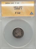 Bust Dimes, 1834 10C Large 4 Fine 12 ANACS. NGC Census: (5/301). PCGSPopulation (2/193). Mintage: 635,000. Numismedia Wsl. Price forp...