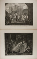 "Books:Prints & Leaves, William Hogarth (1697-1764), artist. Pair of Hogarth Engravings:""The Roast Beef of Old England, &c."" and ""Taste in HighLife""..."