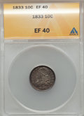 Bust Dimes: , 1833 10C XF40 ANACS. NGC Census: (15/266). PCGS Population(34/276). Mintage: 485,000. Numismedia Wsl. Price for problem fr...