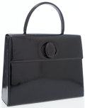 Luxury Accessories:Bags, Cartier Black Patent Leather Top Handle Structured Flap Bag withEmbossed Monogram Logo. ...