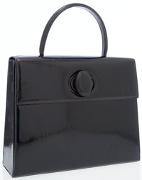 Cartier Black Patent Leather Top Handle Bag with Embossed Monogram Logo