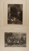 """Books:Prints & Leaves, Frederick Juengling (1846-1889), engraver. Two Fantastic Signed19th Century Engravings. 15.5"""" x 11.5"""" and 11"""" x 15"""" on tiss..."""
