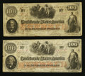 Confederate Notes:1862 Issues, T41 $100 1862 PF-5 Cr. 315. T41 $100 1862 PF-10 Cr. 315A.. ...(Total: 2 notes)
