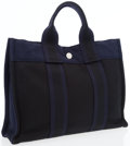 Luxury Accessories:Bags, Hermes Black & Navy Canvas Fourre Tout PM Tote Bag. ...