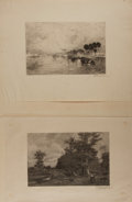 """Books:Prints & Leaves, Thomas Moran (1837-1926) and Frederick Juengling (1846-1889),engravers. Pair of Signed Engraved Landscapes. 13.5"""" x 9.25"""" o..."""