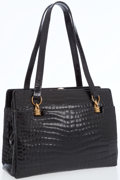 Luxury Accessories:Bags, Gucci Black Crocodile Evening Bag with Interchangeable Gold ChainStraps. ...